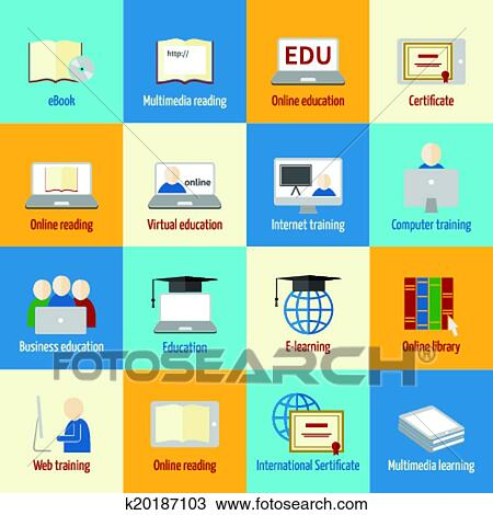 Clipart of Online education icon k20187103 - Search Clip Art ...