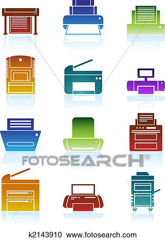 clipart of printer icons color k2143910 search clip art rh fotosearch com printer clipart print clip art