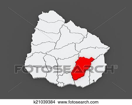 手绘图 - 地图, 在中, lavaleha., uruguay.