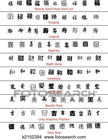 vector chinese lucky symbols with english translation View Large Clip ...