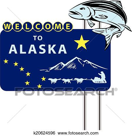 clip art of stand welcome to alaska k20624596 search clipart rh fotosearch com alaska clipart black and white clipart alaska outline