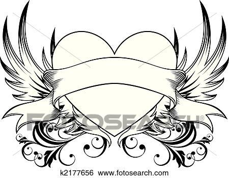 Clip Art Of Decorative Heart Emblem K2177656