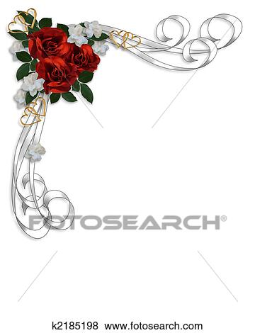 Stock Illustration of Wedding invitation Red Roses Border k2185198 ...