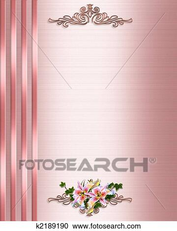Stock illustrations of pink satin wedding invitation border k2189190 illustration composition for background border pink satin formal wedding invitation or template with ribbons lilies copy space stopboris Gallery