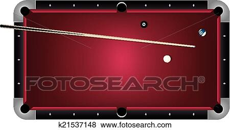 Clip Art   Realistic Billiards Pool Table Red Felt Illustration. Fotosearch    Search Clipart,