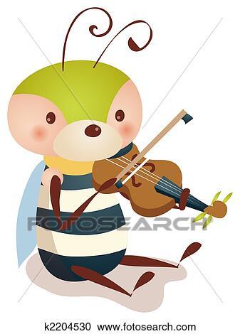 Banque d 39 illustrations abeille jouer violon k2204530 - Dessiner un violon ...