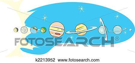 Clipart of Retro Solar System Map k2213952 - Search Clip ...