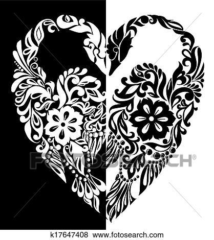 clipart noir blanc cygnes depuis fleurs feuilles et. Black Bedroom Furniture Sets. Home Design Ideas