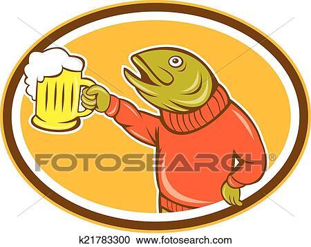 Clipart forelle fische halten bierkrug oval for Fische halten