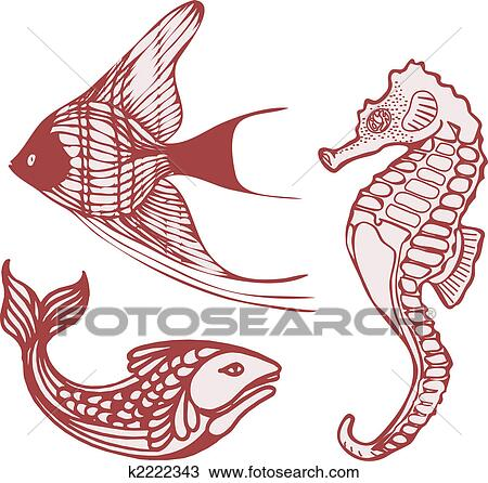 Drawing sea fish seahorse fotosearch search clipart illustration