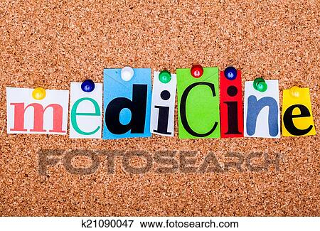 Picture of the word medicine in cut out magazine letters pinned to a picture the word medicine in cut out magazine letters pinned to a cork n spiritdancerdesigns Images
