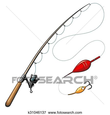 clip art of vector fishing rods k31046137 search clipart rh fotosearch com bent fishing rod clipart cartoon fishing rod clipart