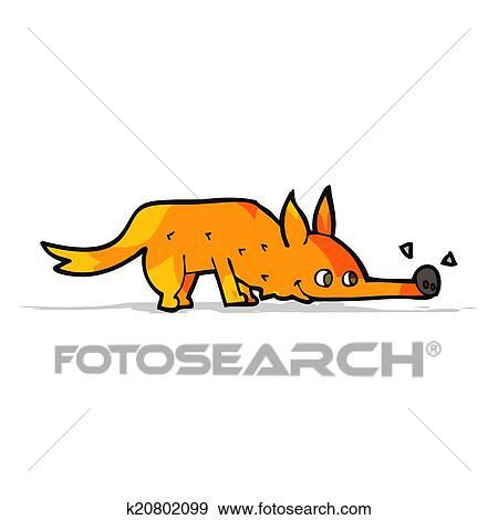 Clipart dessin anim renard renifler plancher k20802099 recherchez des cliparts des - Clipart renard ...