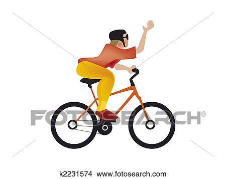 手绘图 - 自行车, 人