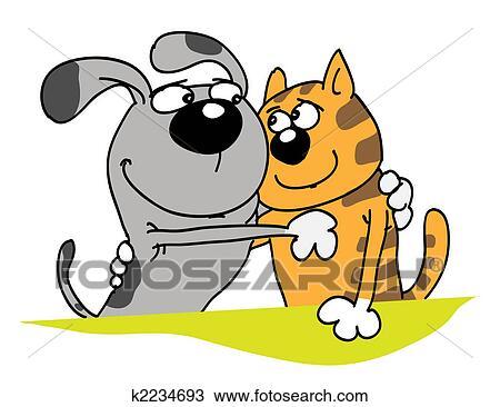 手绘图 - 狗, 同时,, 猫图片