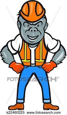 clipart of angry gorilla construction worker cartoon k22460225 rh fotosearch com construction worker clipart images construction worker clipart free