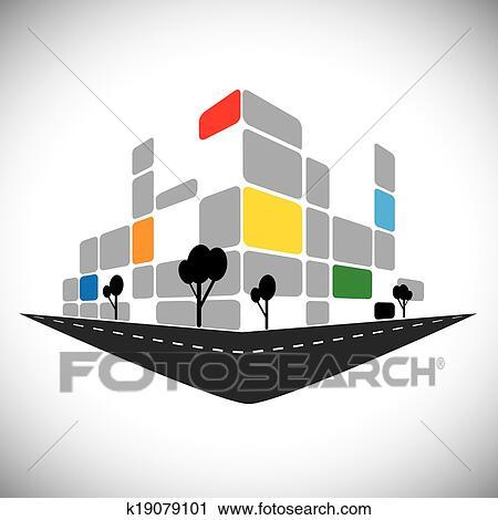 剪贴画 矢量, 图标 , , 商业, 办公室, 高层建筑,