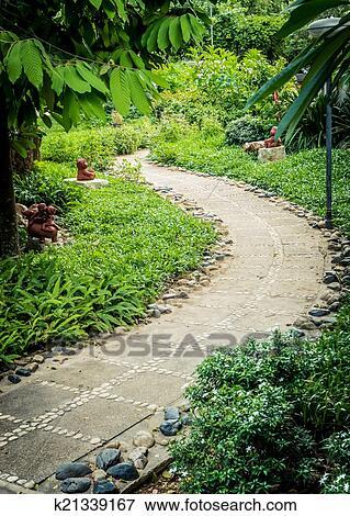immagine - il, roccia, sentiero, disegno, fiorito, in, giardino ... - Giardino Fiorito Disegno