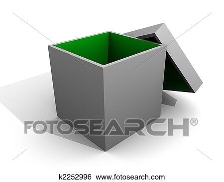 Stock Illustration of Gray Box Open Inside Green / Empty Isolated ...