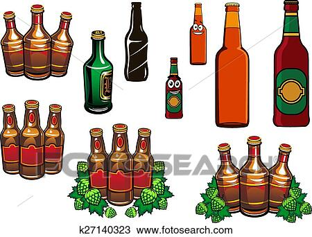 Glas leer clipart  Clipart - karikatur, glas, bierflaschen, mit, leer, etiketten ...