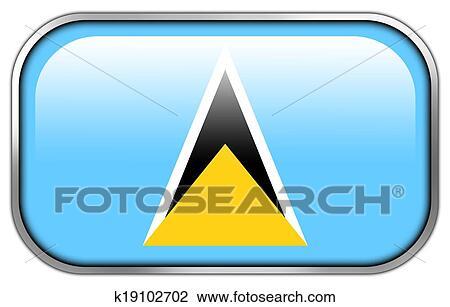 剪贴画 - 神圣的lucia, 旗, 长方形, 有光泽, 按钮.图片