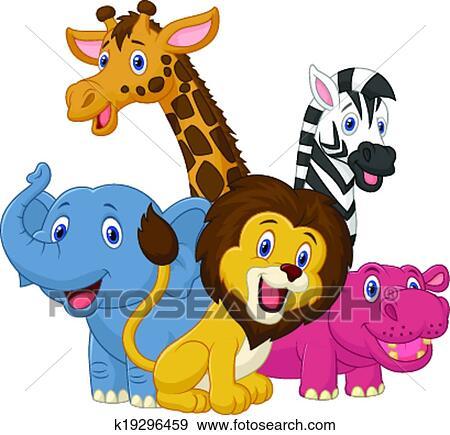 Clip art felice safari animale cartone animato - Animale cartone animato immagini gratis ...