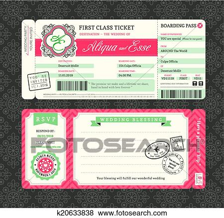 Clip Art Of Vintage Boarding Pass Wedding Invitation Template - Boarding pass wedding invitation template