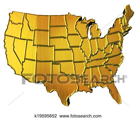 Clip Art Of USA Map D Gold With States K Search Clipart - Us map 3d
