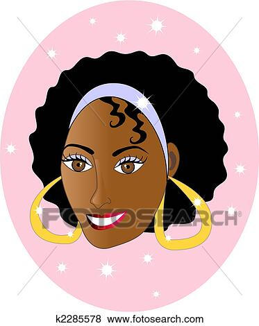 Clip Art of Beautiful Ethnic Woman Smiling k2285578 ...