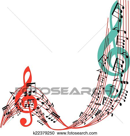 clipart of music notes background stylish musical theme frame rh fotosearch com Music Notes Clip Art Borders Music Notes Banner Clip Art