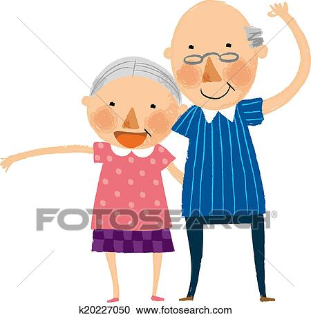 stock illustrations of the view of old couple k20227050 search rh fotosearch com old couple cartoon clipart old couple clipart black and white