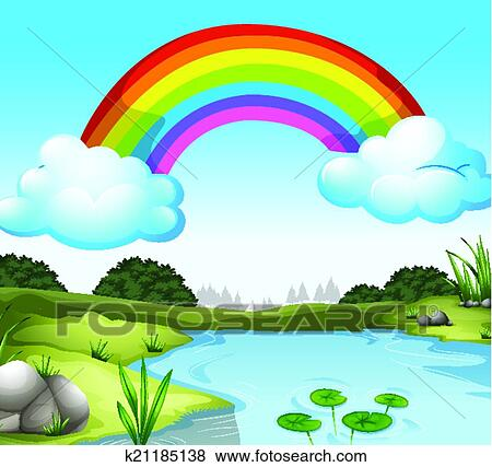 Clip Art of A beautiful scenery with a rainbow in the sky ...