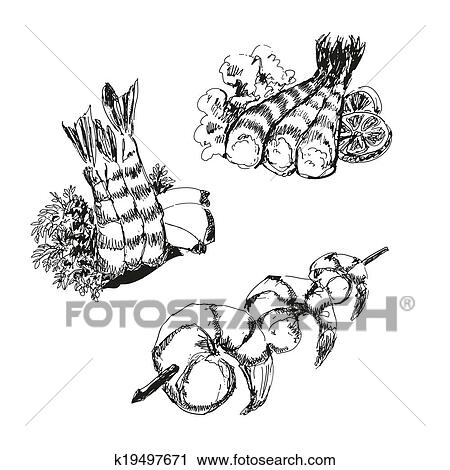 Clipart of Seafood. Shrimps. k19497671 - Search Clip Art ...