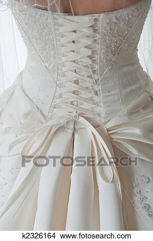 Stock Photo Of Detail Shot Of Laces On Back Of Wedding Dress