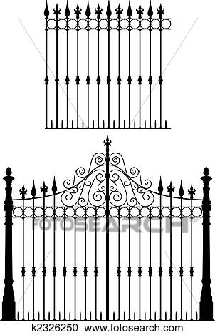 Clipart Of Gate And Fence K2326250 Search Clip Art Illustration Murals Drawings