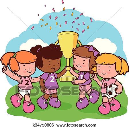 Clip Art Of Girls Soccer Players Champions K34750806