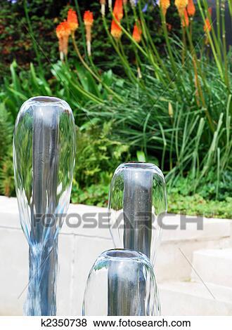 Hage, vann fontener, med, rød varm, ildrake, anlegg