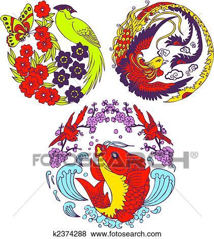 Clipart classique chinois arbre oiseau embl me k2374288 recherchez des cliparts des - Dessin arbre chinois ...