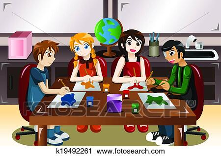 clipart of kids painting together in an art class k19492261 search rh fotosearch com Computer Clip Art Art Clip Art