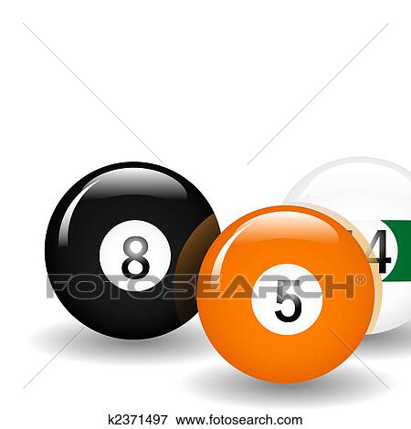 Clip Art Of Pool Balls K2371497