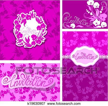 clipart - ensemble, de, cartes voeux, à, orchidée, fleurs, et