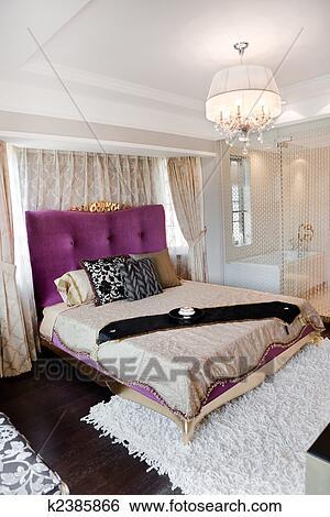 Arkivbilder   konge, størrelse, seng, inn, moderne, soverom ...