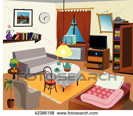 Clip art of room interior k2386198 search clipart for Poster jugendzimmer