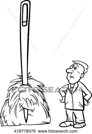 clip art of needle in a haystack saying cartoon k18778579 search rh fotosearch com