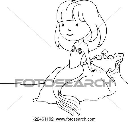 Clipart Of Coloring Book Little Mermaid Sitting On The Rock