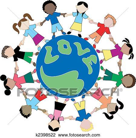 Kindern von alles welt teilen ausstellung liebe und halten