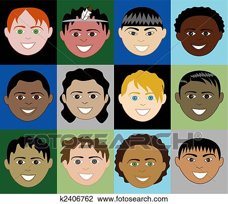 clipart of boys faces 2 k2406762 - search clip art, illustration