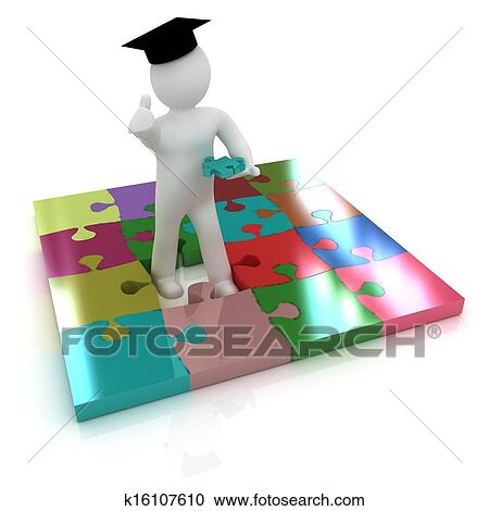 Stock Illustrations of 3d man in a graduation Cap with ...