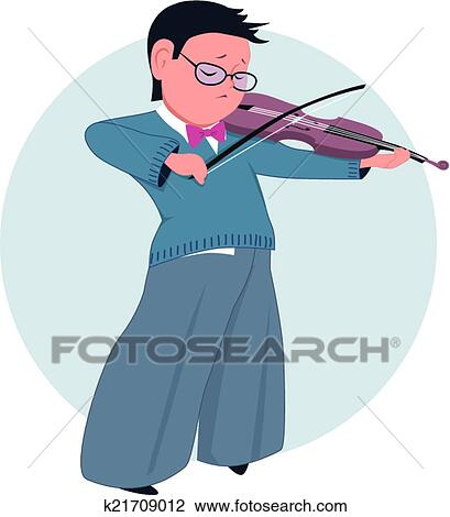 漂亮, 卡通漫画, 小学, 男孩, 演奏小提琴, 矢量, 描述, 不, 透明度图片
