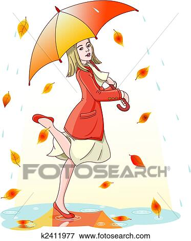 Clip Art of Dancing in the rain k2411977 - Search Clipart ...